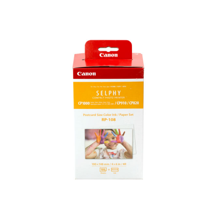 Canon RP-108 High-Capacity Color Ink And Paper Set